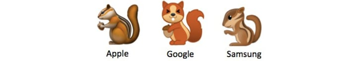 Three different chipmunk emojis from Apple, Google, and Samsung
