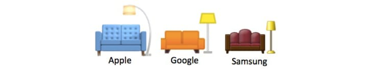 Three different couch and lamp emojis from Apple, Google, and Samsung