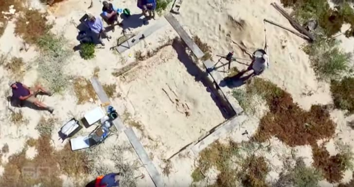A screenshot of the Beacon Island dig site from 60 Minutes Australia