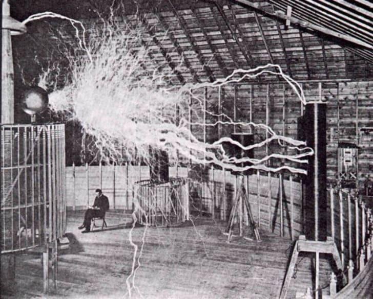 Nikola Tesla in his Colorado lab, 1899.