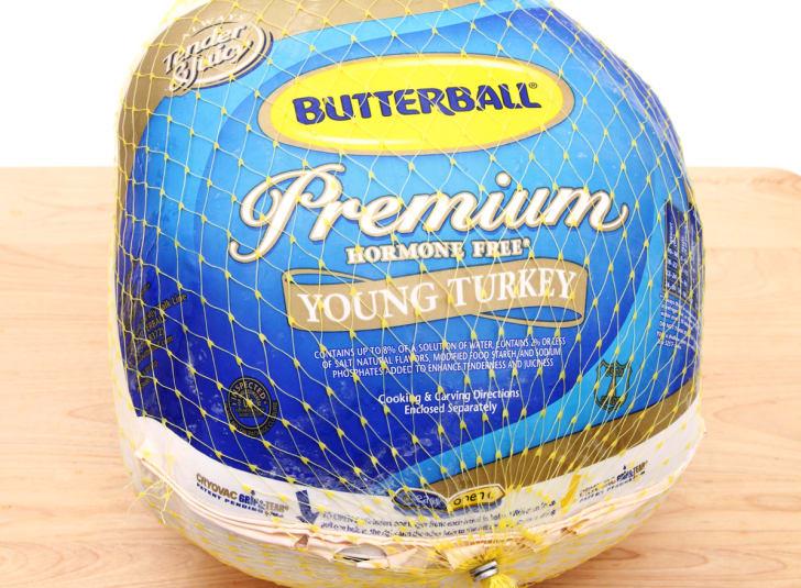 A frozen Butterball turkey.