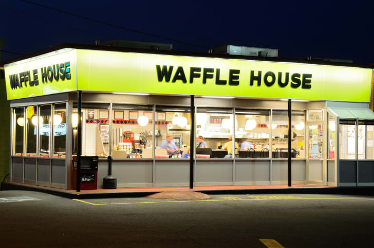 The front exterior of a Waffle House