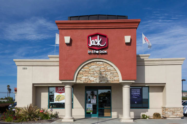 The front exterior of a Jack-in-the-Box restaurant