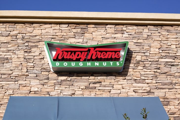 The front exterior of a Krispy Kreme restaurant