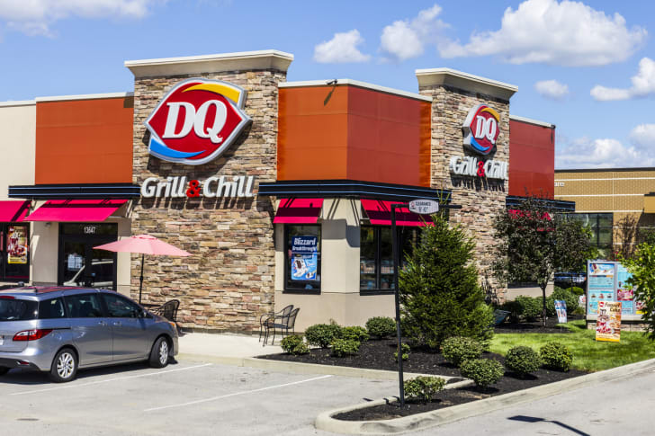 The front exterior of a Dairy Queen restaurant