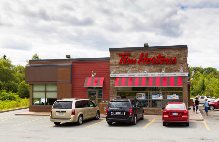The front exterior of a Tim Hortons restaurant