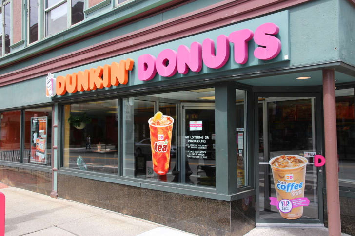 The front exterior of a Dunkin' Donuts restaurant