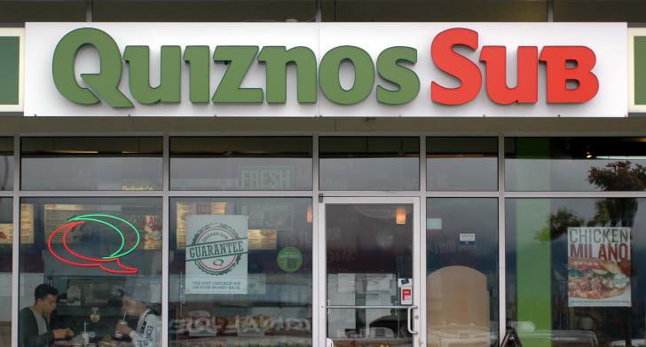 The exterior of a Quiznos restaurant