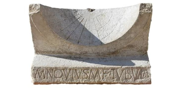 A 2000-year-old Roman sundial, discovered by Cambridge University archaeologists in the ancient Italian town of Interamna Lirenas.