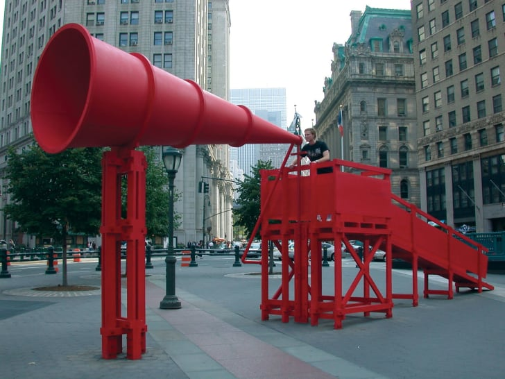 """Laurie Hawkinson, Erika Rothenberg, and John Malpede's 2004 artwork """"Freedom of Expression National Monument"""""""