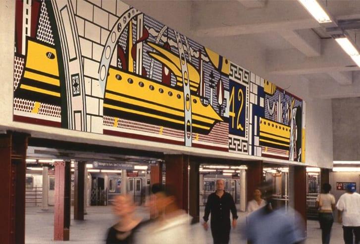 """Subway artwork """"Times Square Mural"""" designed by Roy Lichtenstein,"""