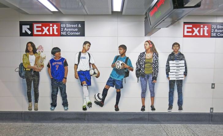 "Vik Muniz's 2017 subway artwork ""Perfect Strangers"""