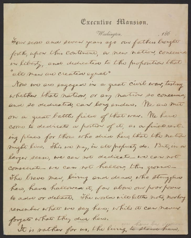 A handwritten draft of the Gettysburg address