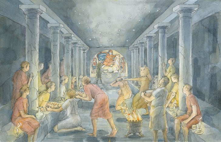 An illustration of Roman cult members cavorting in the temple