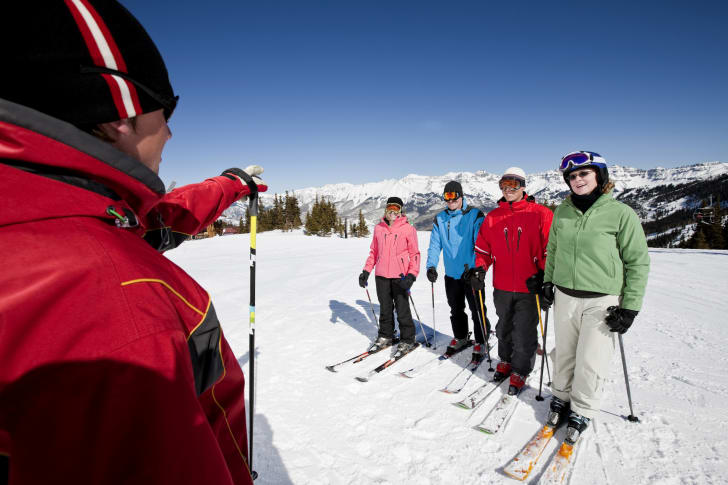 Ski instructor teaching adults