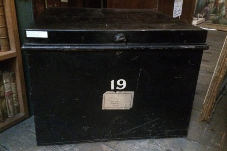 The tin trunk where the handwritten manuscript by John Donne was discovered at Westminster Abbey.