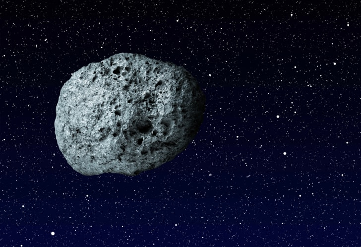 An asteroid in space.