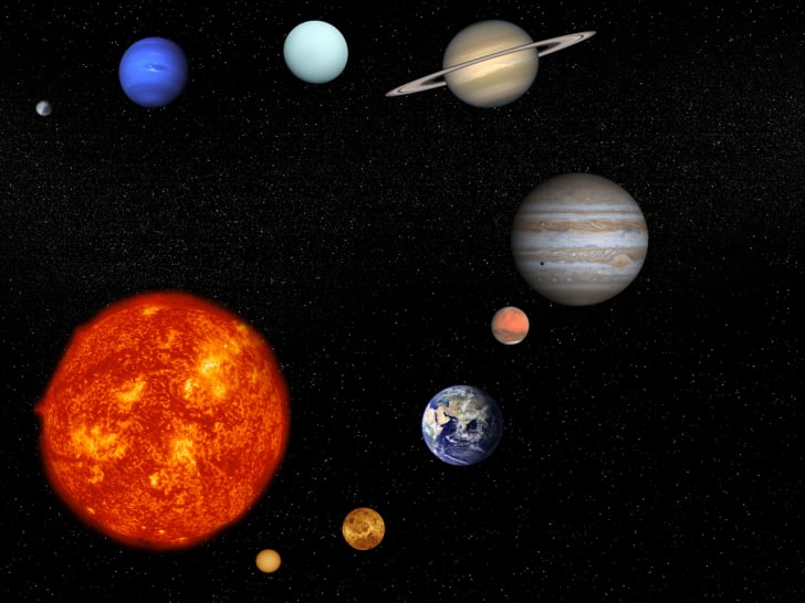 An artist's concept of the solar system.