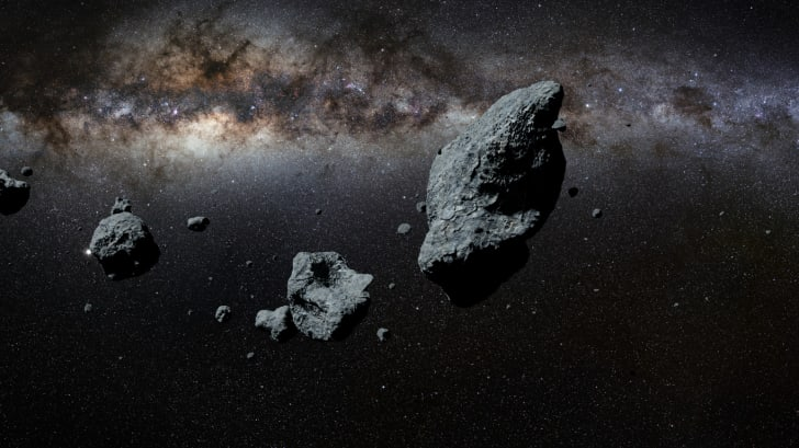 An artists' rendering of the asteroid belt.
