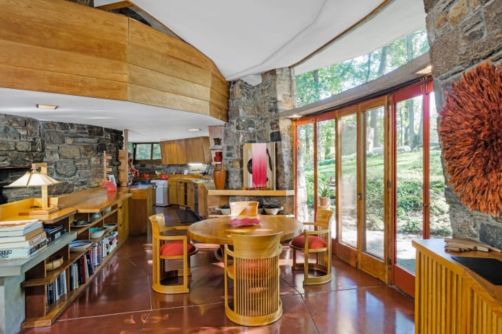 """The Sol Friedman House, or """"Toyhill,"""" one of Frank Lloyd Wright's first homes built for his Usonia community in Pleasantville, New York."""