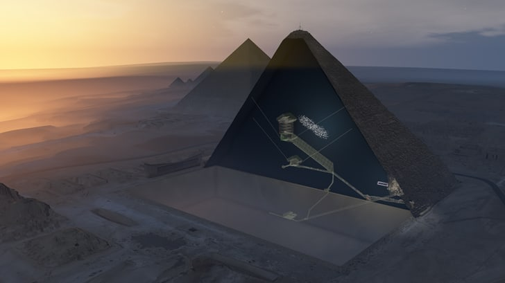 A rendering shows internal chambers within the Great Pyramid and the approximate structure of the newly discovered void.