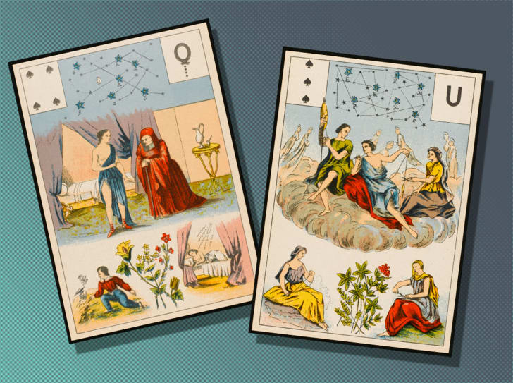 Two Lenormand tarot cards, showing a wise woman and the Fates.