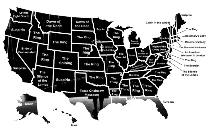 A black map of the United States with the most-searched for horror movie in each state.