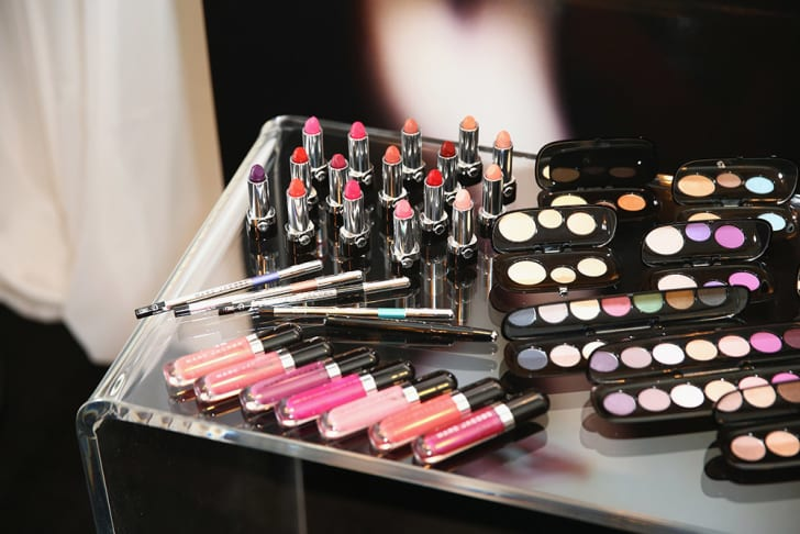 A selection of makeup on display at a Sephora store in Beverly Hills, California