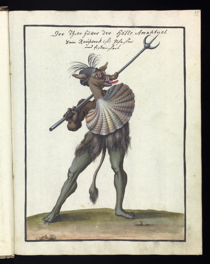 A jaunty demon stands with a pitchfork over his shoulder wearing glasses.