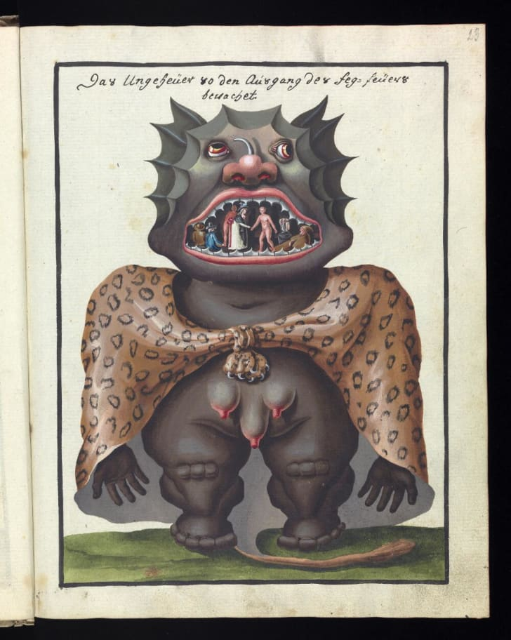 A demon's mouth contains a scene with tiny people shaking hands.