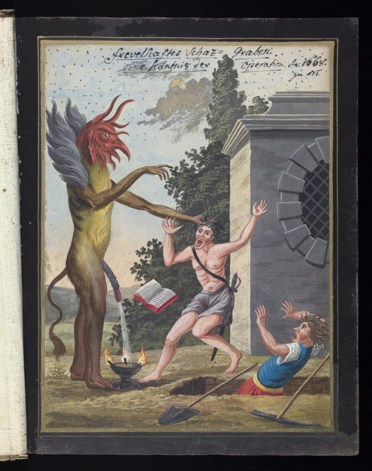 A man screams as a giant demon with a bird's head grabs him by the hair.