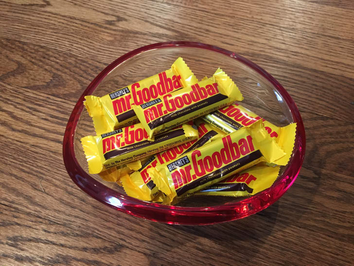 Bowl of Mr. Goodbar candy bars.