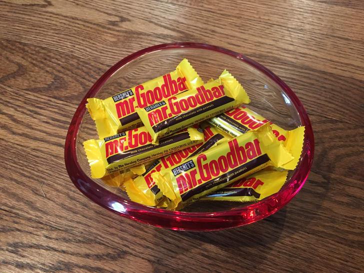 Bowl of Mr. Goodbar candy bars.