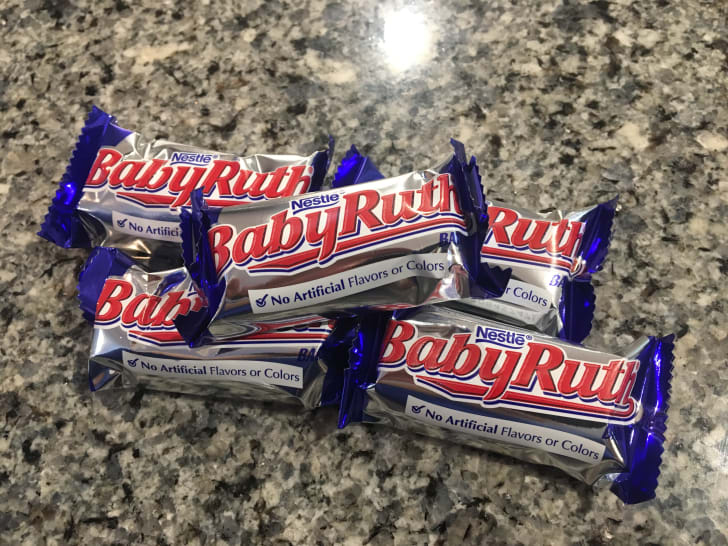 Pile of Baby Ruth mini candy bars.
