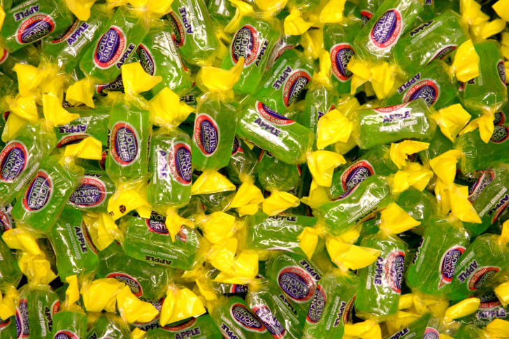 Bowl of Jolly Rancher candies.