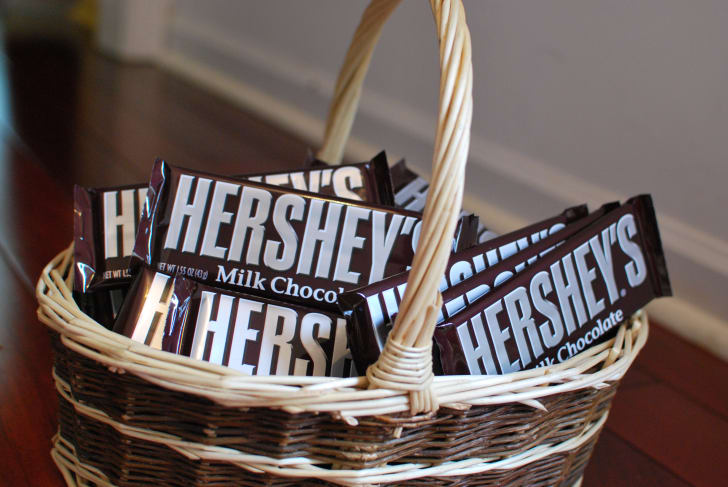 Hershey's chocolate bars in a basket.