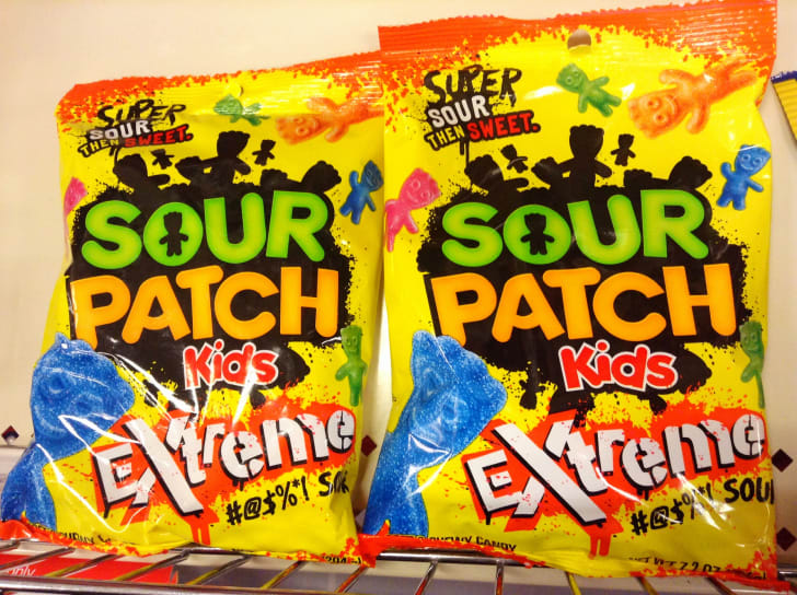 Two bags of Sour Patch Kids.