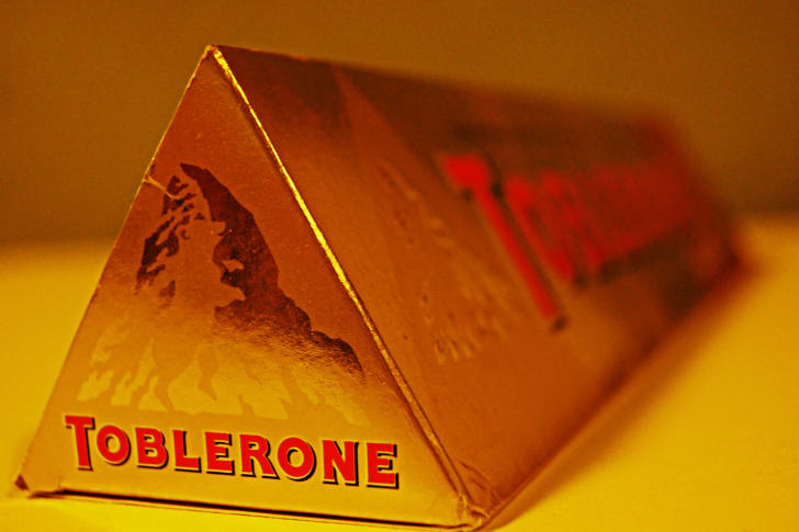 Close-up of a Toblerone candy bar.