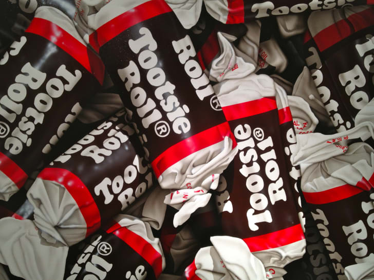 Pile of Tootsie Roll candies.