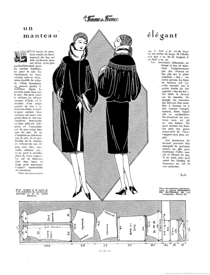 An illustration from a 1927 French magazine shows two women in fur coats.