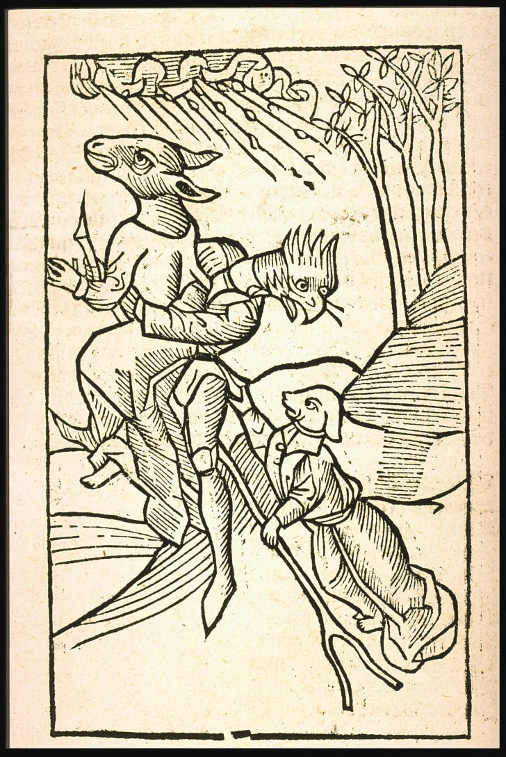 The first printed image of witches in flight. Ulrich Molitor, 1493, De lamiis et phitonicis mulieribus