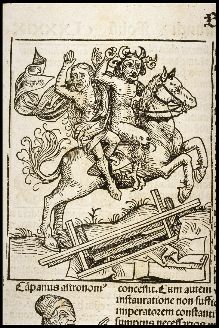 Woodcut illustration of the Berkeley Witch from the Nuremberg Chronicle, ca. 1493