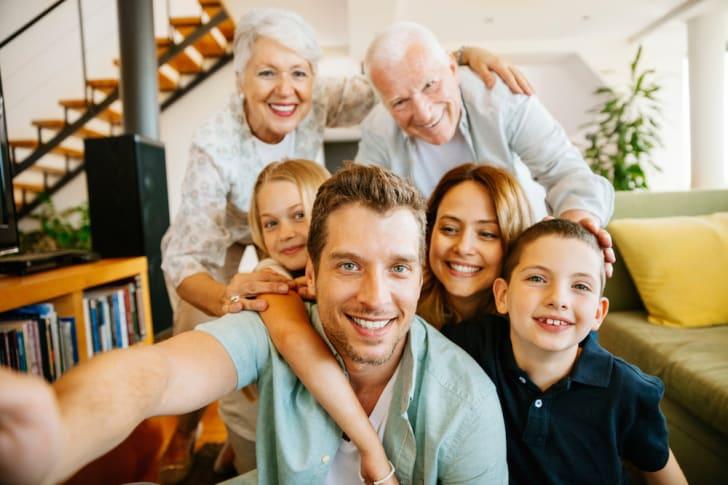 Family photo selfie