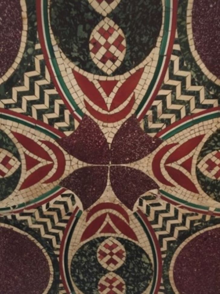 A mosaic tile that once adorned a pleasure barge owned by the Roman emperor Caligula.