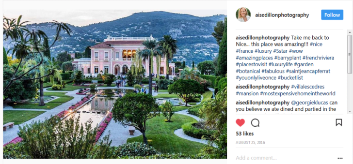 An Instagram post of Villa les Cedres