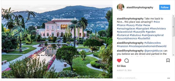 An Instagram post of Villa les Cedres