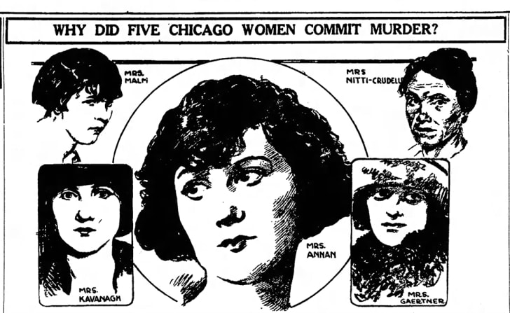 A newspaper illustration of Sabella Nitti and several women she was in jail with