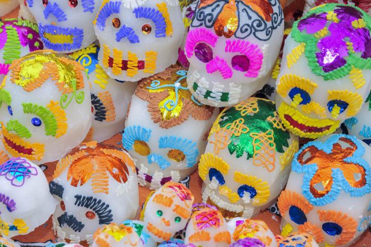 Sugar skulls with decoration.