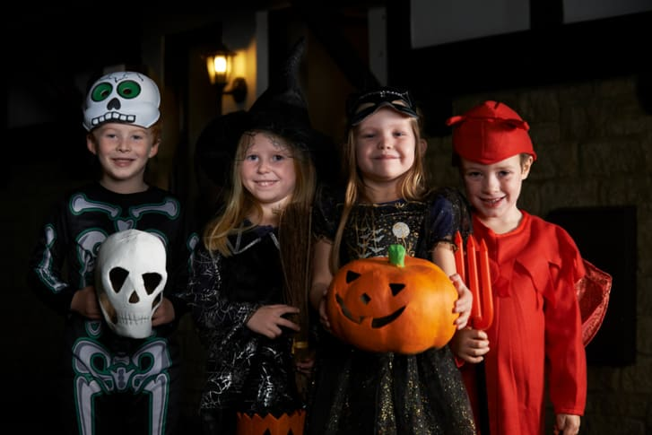 Kids dressed up for Halloween.