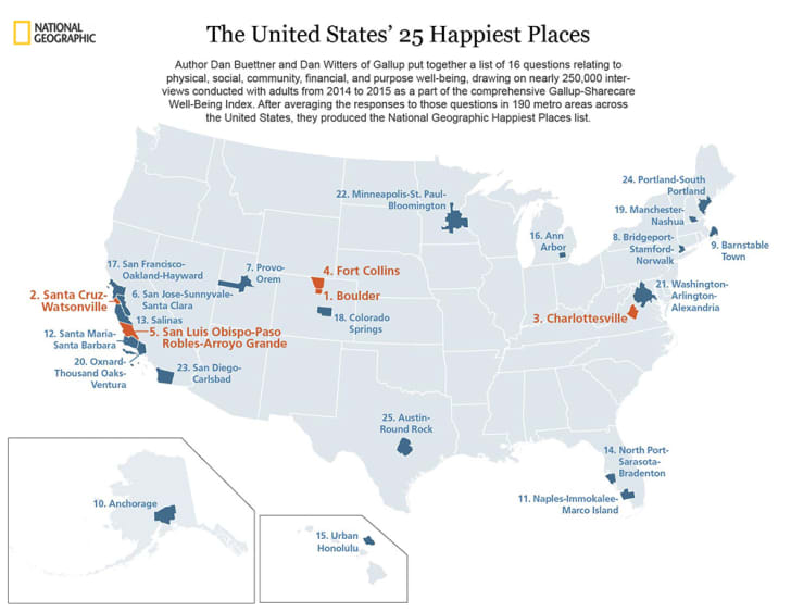 A map of the U.S. showing which cities made the top 25 happiest cities index.